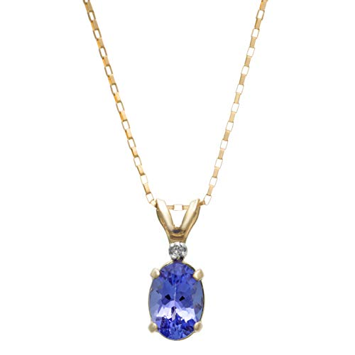 7x5MM Oval Genuine Tanzanite .01 CTTW Diamond Pendant 18