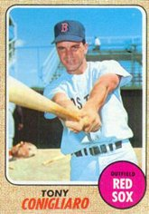 1968 Topps # 140 Tony Conigliaro Boston Red Sox (Baseball Card) Dean's Cards 5 - EX Red Sox
