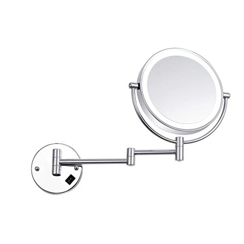 Wall-Mounted Vanity Mirrors 8-inch Bathroom Wall Hanging Lamp Mirror LED Fill Light Makeup Mirror Double-sided 3X Magnifying Beauty Mirror Lighted Makeup Mirror ( Color : Silver , Size : 8 ()