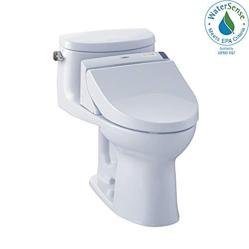 TOTO MW6342044CEFG#01 WASHLET+ Supreme II One-Piece Elongated 1.28 GPF Toilet and WASHLET C200 Bidet Seat, Cotton White (Toilet Supreme Elongated)
