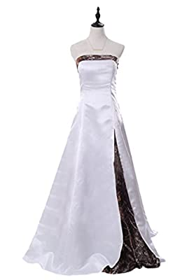 Sunvary 2016 White and Camouflage Long Wedding Bridal Dresses Prom Gowns