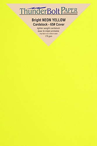 3000 Bright Neon Yellow Fluorescent Color Cardstock - 4'' X 6'' (4X6 Inches) Photo|Card|Frame Size - 65# lb/pound Light Card Weight Cover Paper - Quality Printable Smooth Surface Sheets by ThunderBolt Paper