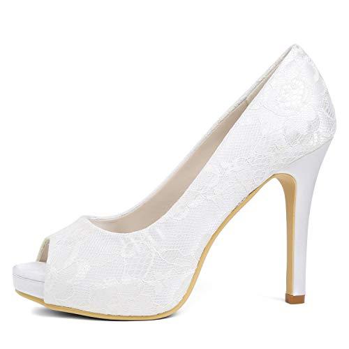 De Tamaño Boda yc Plataforma Flor Altos Medio Marfil Cintas 42 vestido Tacones Blue Para L 35 Zapatos Mujer wxEpwt7