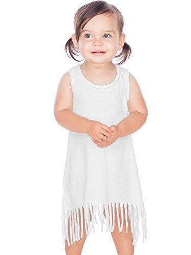 Kavio! Infants Sheer Jersey Raw Edge Fringe Asymmetrical Tank Dress White (Girls Raw Edge)