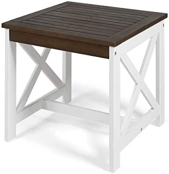 Great Deal Furniture Karen Beach Outdoor Farmhouse Acacia Wood End Table