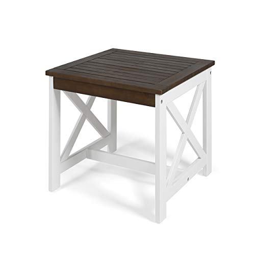 Great Deal Furniture Karen Beach Outdoor Farmhouse Acacia Wood End Table, Dark Brown and White
