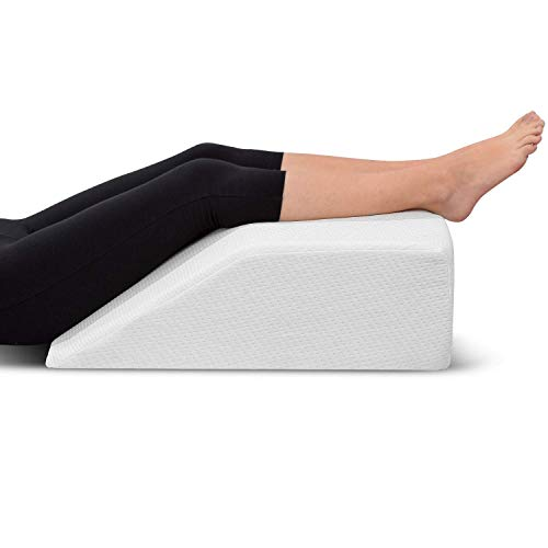 (Leg Elevation Pillow - with Memory Foam Top, High-Density Leg Rest Elevating Foam Wedge- Relieves Leg Pain, Hip and Knee Pain, Improves Blood Circulation, Reduces Swelling - Breathable, Washable Cover)