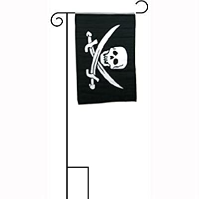 "12""x18"" Jolly Roger Pirate Calico Jack Sleeved w/ Garden Stand Flag PREMIUM Vivid Color and UV Fade BEST Garden Outdor Decor Resistant Canvas Header and polyester material FLAG"