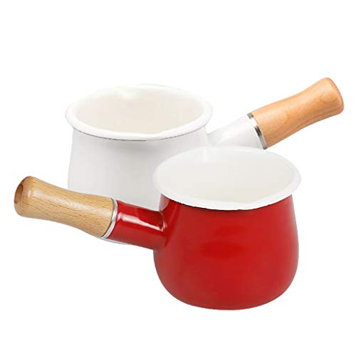 Fenteer Pack 2 Enamel Milk Pan Butter Coffee Warmer Mini Saucepan Cookware Kitchen Cookware Pot for Home Restaurant Use, 550ml