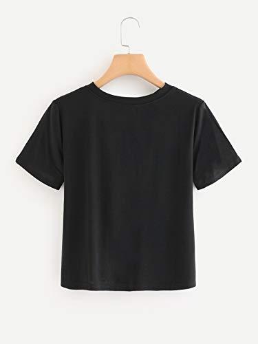 5faca168a4f Romwe Women's Short Sleeve Crop Top Gingham Checkboard Graphic Print Tee  Shirt