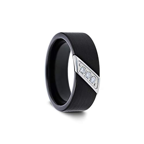 Liam Flat Black Satin Finished Tungsten Carbide Wedding Band with Diagonal Diamonds Set in Stainless Steel - 8 mm (9) (Tungsten Carbide Mens Wedding Bands With Diamonds)
