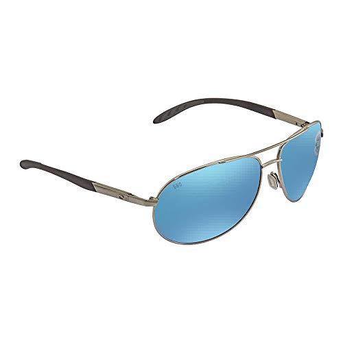 Costa del Mar Men's Wingman Polarized Iridium Aviator Sunglasses, Palladium Silver Frame Blue Mirror Glass-W580, 60.6 mm (Costa Aviators)
