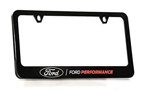 Ford Performance Wordmark Black Coated Zinc Metal License Plate Frame Holder Wide Bottom Engraved 2 ()