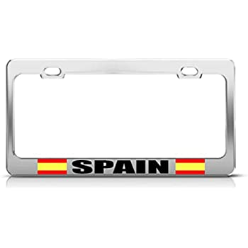 SPAIN FLAG SPANISH ESPENA COUNTRY Metal License Plate Frame Tag Holder Two Holes