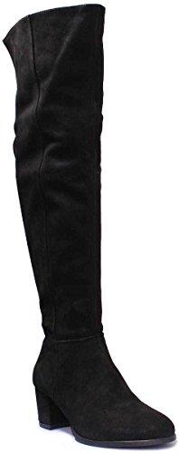 Justin Reece 7885 Women Nubuck Leather Black Over Knee Boots Black wUWvf9NbYM