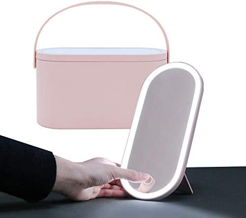 Travel Makeup Organizer Box with Mirror Light Up LED Mirror Portable Makeup Case Bag Professional Cosmetic Box Easy Carrying