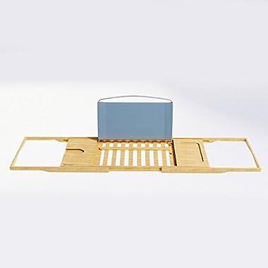 Bath Dreams Luxury Bamboo Bathtub Caddy Tray  with Extending Sides