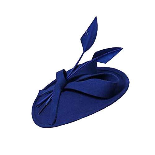 - Urchart Women's Vintage Hat Pillbox 1940's Style Bowknot Stripe Straw Comb Fascinator Headwear (Blue)