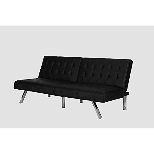 Faux Leather Futon Sofa Bed Black Convertible Couch Comfortable Appartment Tufted Modern Design with Chrome Metal Legs Convertible Adjustable Sleeping Vinyl Furniture &eBook by Easy&FunDeals