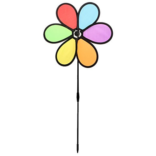 (Hared New Colorful Wheel Flower Rainbow Wind Spinner Bright Color Pinwheels Kids Toy Outdoor Yard Garden Decor-Ground Stake Included)