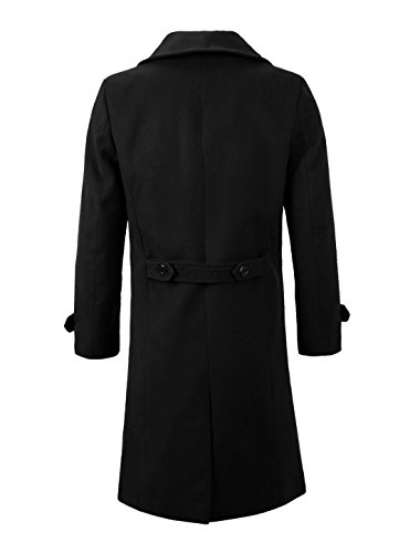 Autumn Long Men Allegra Overcoat Black Sleeve Collar K Convertible Breasted Double uxcell HpSgZwqw