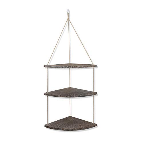 ALWOA Hanging Corner Wall Shelf 3 Tier Rustic Wood Floating Shelves Thick Hemp Rope Firm Link, Sundries Storage Organizer Decor for Living Room Bedroom Bathroom Kitchen