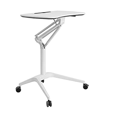 SONGMICS Mobile Laptop Desk Rolling Cart Table, Height Adjustable Standing Table with Gas Spring and Casters, 28.1''W Top Laptop Computer Desk for Home Office, White, ULAD02WT