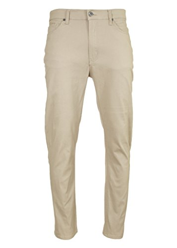 VINTAGE GENES 1891 Mens Stretch Slim Chino Pants Taupe 30x30 (Twill Mens Vintage Front Flat)