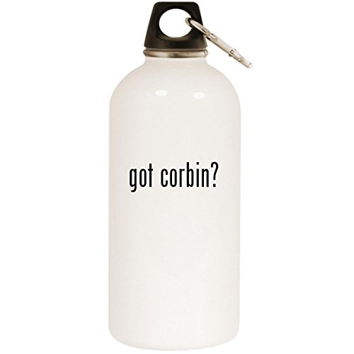Molandra Products got Corbin? - White 20oz Stainless Steel Water Bottle with Carabiner