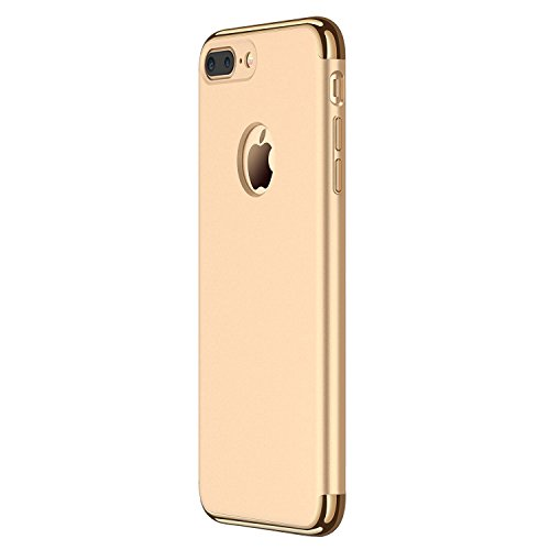 Hovisi 3 in 1 Anti-Scratch Anti-Fingerprint Shockproof Electroplate Frame with Non Slip Coated Case for iPhone7 Plus (Gold) (Slip Non Plus)