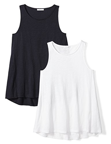 Daily Ritual Women's Washed Cotton Boat Neck Swing Tank Top, 2-Pack, L, White/Navy -