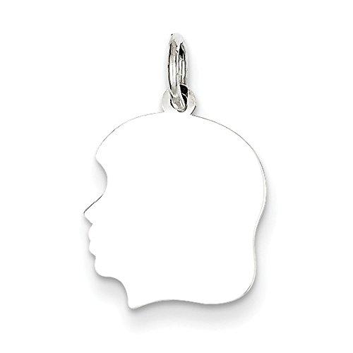 (Sterling Silver Polished Flat back Engravable Engraveable Girl Disc Charm)