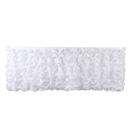 Deluxe 9ft White Tier Table Skirt Tutu Table Skirt Decoration Table Skirting for Wedding Baby Shower Birthday - Side Hb Skirts