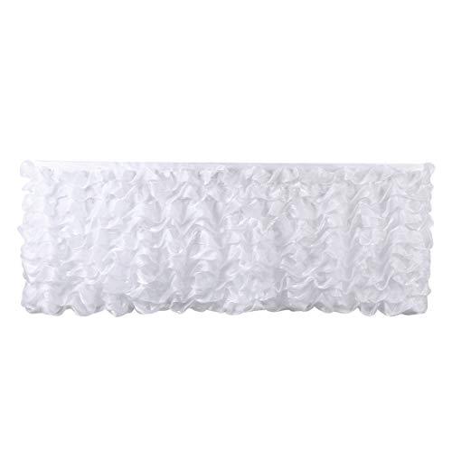 Ruffled Table Skirt (Deluxe 9ft White Tier Table Skirt Tutu Table Skirt Decoration Table Skirting for Wedding Baby Shower Birthday)
