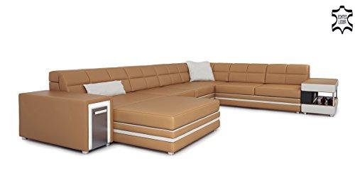 Leder Wohnlandschaft Xxl Cognac Creme U Form Sofa Couch Designsofa