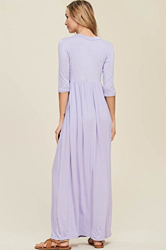 Lavender 4 Dresses Sleeve Pockets Maxi Long Women's Side Annabelle with 3 fqUnv