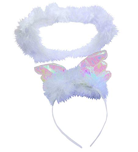 White/Silver Iridescent Feather Angel Wings Alice Band