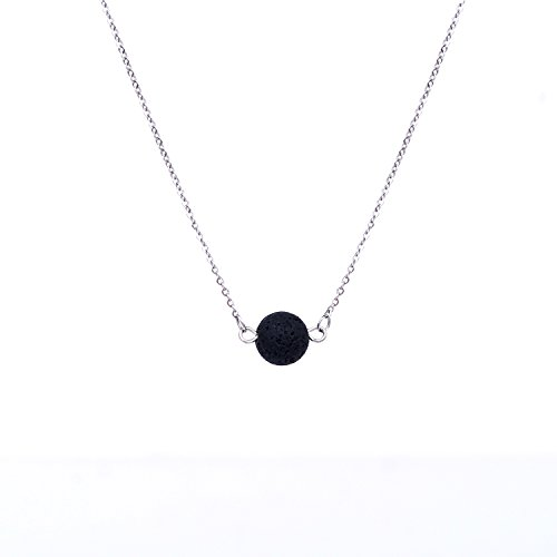 Price comparison product image ALUCKY Aromatherapy Essential Oil Diffuser Necklace Lava Stone Pendant, Stainless Steel Chain, Simple and Delicate- Perfect Gift for Women