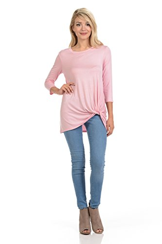 Pastel by Vivienne Women's Tunic Top With Knot Detail X-Large Blush