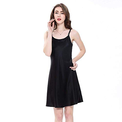 Mini Vestido De Momme Moda Seda Chemise Damas Cálido Camisón Noche Nightwear Schwarz Adorable Pijama Short w4gqHR