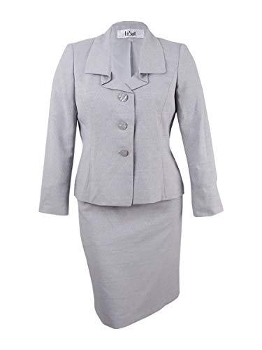Suit Button Button Three Four - Le Suit Women's Jacquard 3 Button Skirt Suit (3), Silver 4