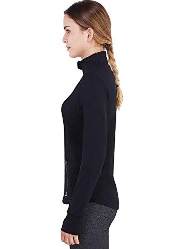 Matymats Women's Active Full-Zip Track Jacket Yoga Running Athletic Coat With Thumb Holes,Large,Black by Matymats (Image #3)