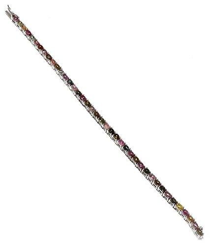 Be You Plaqué étonnante multicolore tourmaline réelle pierres précieuses rhodium bracelet en argent sterling pour les femmes