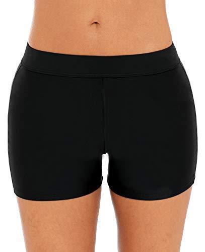 ATTRACO Womens Board Shorts Mid Waist Swim Bottom Sporty Boyshorts Solid Black M