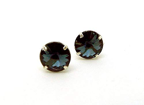 - Post Earrings made with 7mm Swarovski Crystal Montana Blue Faceted Rivoli Rhinestones Prong Set