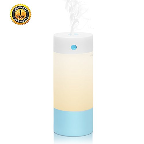 Allkeys Humidifier, 250mL Cool Personal Mist Desk Portable Humidifiers for Babies Bedroom, Night Light Mode, USB Powered and Whisper Quiet for Office Home Car - Via Contemporary Table