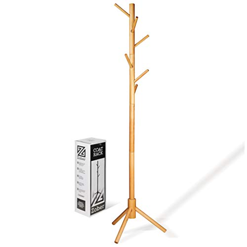 - High-Grade Wooden Tree Coat Rack Stand, 6 Hooks - Super Easy Assembly NO Tools Required - 3 Adjustable Sizes Free Standing Coat Rack, Hallway/Entryway Coat Hanger Stand for Clothes, Suits, Accessories