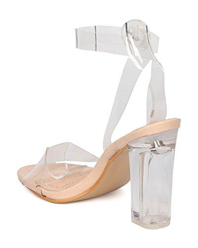 Dbdk New Women Lucite Sandalo Con Tacco Largo - Dressy, Wedding, Party - Cinturino Alla Caviglia - Ge50 By Nude