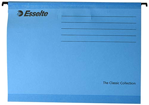 Esselte Classic Reinforced Suspension File, A4, Pack of 25, Tabs Included, Blue, 90311
