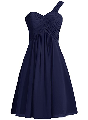 Solid Shoulder Dress Women's One Royal Short Blue Chiffon Cocktail ASVOGUE FnZTqxwF